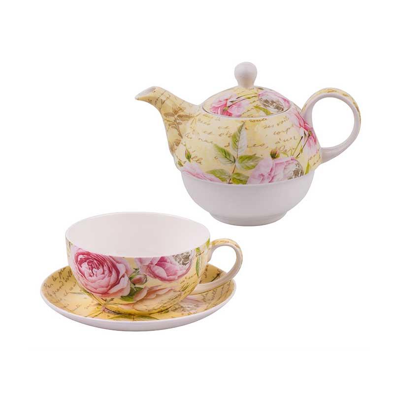 Нежен комплект от чайник и чаша Рози