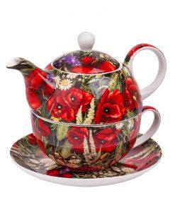 Комплект от чайник и чаша Макове