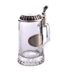 Халба за бира с посребрена плочка