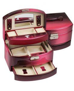 Кожена кутия за бижута Burgundy