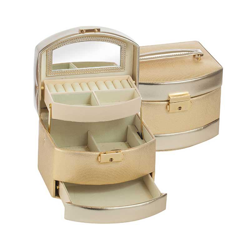 Кутия за бижута в нежно златисто