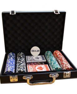 Кожено куфарче с 200 покер чипа без номинали