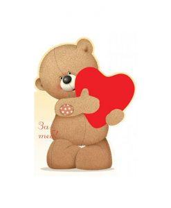 Картичка в плик Мече със сърце