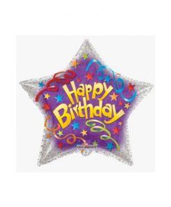 Фолиев балон звезда Happy Birthday