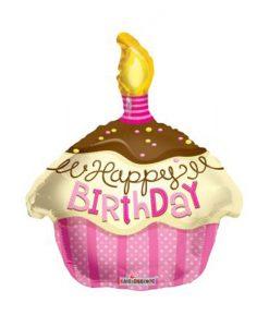 Фолиев балон Торта Pink Happy Birthday