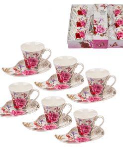 Комплект 6 чаши + 6 чинийки Роза
