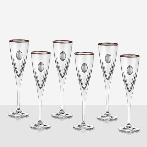 Fusion 6 чаши за шампанско, сребърна плочка