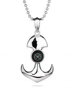 Мъжки медальон SILVER FLAME котва с компас