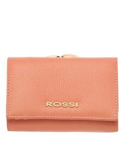 Малко дамско портмоне цвят Праскова Шагрен ROSSI