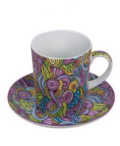 Абстрактна розова чаша + чинийка