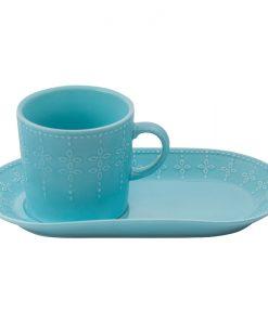 Зелена чаша с десертна чиния
