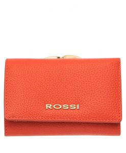 Малко дамско портмоне цвят Корал Шагрен ROSSI