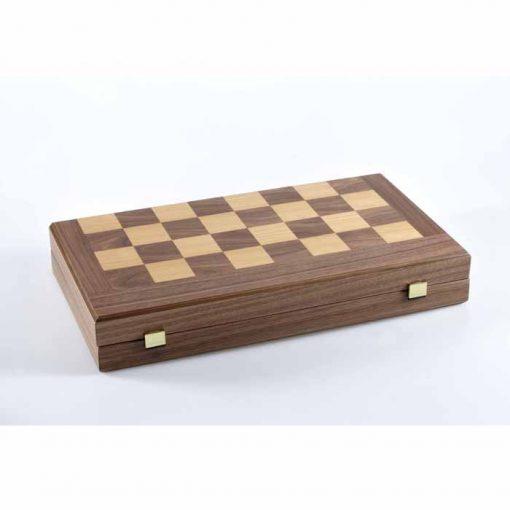 Луксозна дървена табла и шах Manopoulos, орех, голям размер