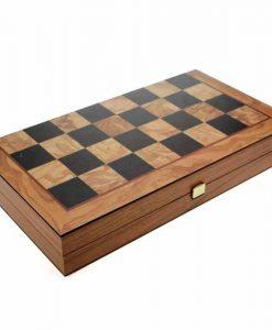 Дървена табла и шах Manopoulos, цвят маслиново дърво, малък размер