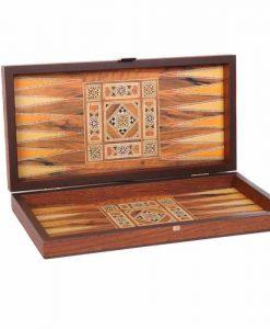 Дървена табла + шах Manopoulos, с ориенталски мотиви, малък размер