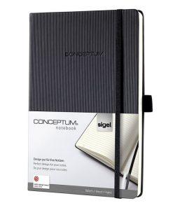 Бележник Sigel CONCEPTUM®, A5, на редове, твърда корица, черен