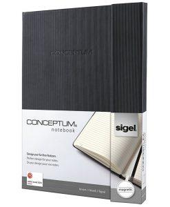Бележник Sigel CONCEPTUM®, A4, на редове, твърда корица, черен, магн.затваряне
