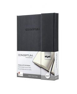 Бележник Sigel CONCEPTUM®, A6, на редове, твърда корица, черен, магн.затваряне