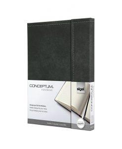 Бележник Sigel CONCEPTUM®, A5, ретро дизайн, твърда корица, тъмно сив, магн.затваряне