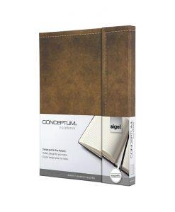 Бележник Sigel CONCEPTUM®, A5, ретро дизайн, твърда корица, кафяв, магн.затваряне