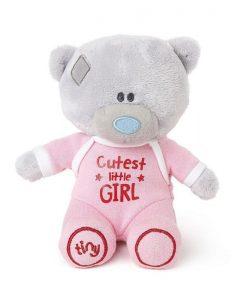 Плюшено мече за бебе момиче CUTEST LITTLE GIRL