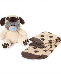 Комплект Плюшено мече-Куче с Чорапи PUG PLUSH AND SOCKS SET