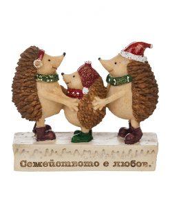 Коледна фигурка таралежчета