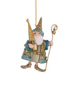 Играчка Дядо Коледа в синьо и златно