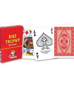 Покер карти Modiano Bike Trophy 100% пластик - червен гръб