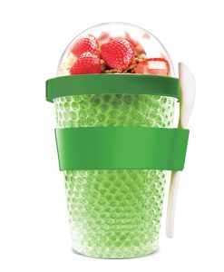 "Oхлаждаща чаша с прибор ""CHILL YO 2 GO"" - цвят зелен"
