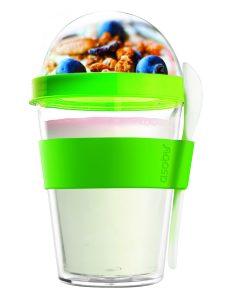 """Чаша с лъжичка""""YO 2 GO"""" - цвят зелен"""