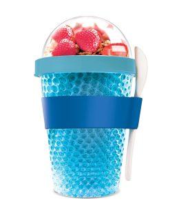 """Oхлаждаща чаша с прибор """"CHILL YO 2 GO"""" - цвят син"""