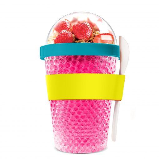 """Oхлаждаща чаша с прибор """"CHILL YO 2 GO"""" - цвят розов"""
