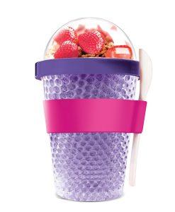 """Oхлаждаща чаша с прибор """"CHILL YO 2 GO"""" - цвят лилав"""