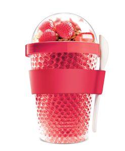 """Oхлаждаща чаша с прибор """"CHILL YO 2 GO"""" - цвят червен"""