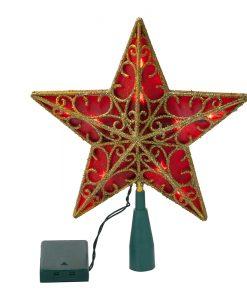 Светеща коледна звезда червена