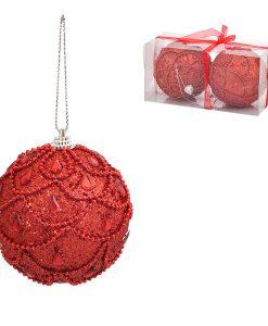 Коледни топки червени с мъниста