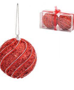 Коледни топки червени