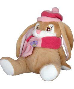 Плюшен заек с розов шал и шапка