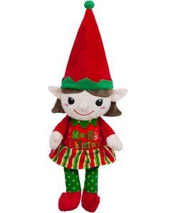 коледен елф-момиче с червена шапка