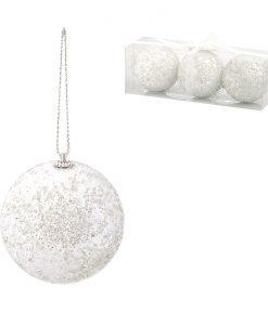 Коледна топка бела 8 см