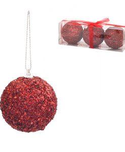Коледна топка червена 8 см