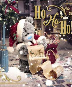 3D Картичка Коледна BEAR IN SANTA HAT XMAS