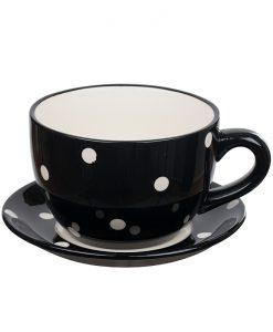 Саксия чаша черна на точки