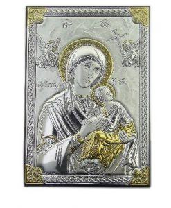 Посребрена икона Богородица с младенеца