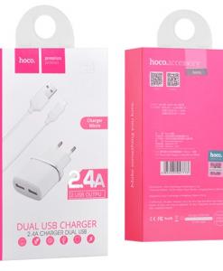 Зарядно C12 Dual USB HOCO