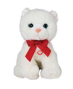 Плюшена играчка коте с червена панделка