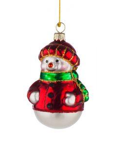Стъклена коледна играчка снежко с шапка