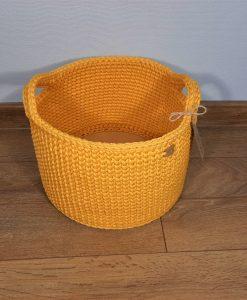 ръчно плетен кош в жълто