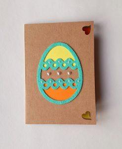 Картичка Великденско яйце шарено